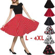 Women 1950s Hepburn Style Skirt Polka Dot Print Plus Size Big Hem Elegant A-line