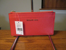 Michael Kors Money Pieces Large Slim Card Case Sea Coral  Key Fob Wallet... - £37.67 GBP