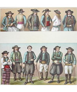COSTUME of Peasants Brittany France - SUPERB Color Antiqe Print by A. Ra... - $22.95