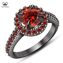 Engagement Wedding Ring 18k Black Rhodium Finish 925 Sterling Silver Red... - ₨5,698.60 INR