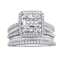 1.05 Ct Round & Baguette Natural Diamond Sterling Silver Engagement Bridal Set - $530.98