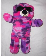 Six Flags Teddy Bear Purple Pink Camo Plush Stuffed Animal Sunglasses Ca... - $24.73