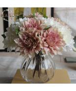 1Bunch/3PCs Green Artificial Plant Fake Dahlia Bouquet Wedding Flower Fl... - $5.64