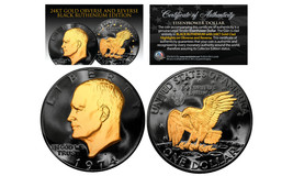 Black RUTHENIUM Eisenhower IKE Dollar Coin with 24KT Gold Clad Features ... - £15.62 GBP