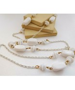 Vintage Crown Trifari White Bead Chain Long Necklace S16 - $17.66