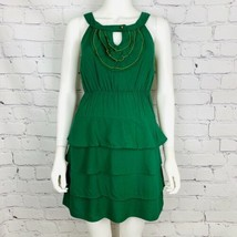 Anthropologie Maeve Women's Dress 0 Green Layered Key Hole Front Sleeveless - $34.60