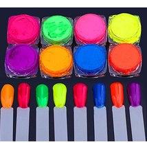 BAHYHAQ - 8 Colors Neon Pigment Nail Powder Dust Glitter Iridescent Acrylic - $5.93