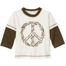 NWT Gymboree Peace Long Double Sleeve Boy T-Shirt Skateboard White Brown... - $12.99