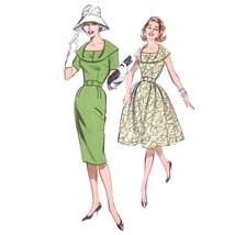 Vtg 60s Butterick 9695 Misses Sheath Fit Flare Dress S/S Slvlss Draped C... - $12.95