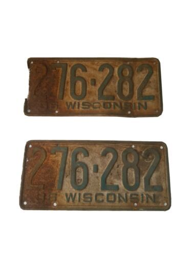 1936 36 Wisconsin Wi License Plate Pair Great Look