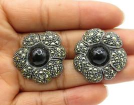 925 Sterling Silver - Vintage Black Onyx & Marcasite Flower Stud Earrings- E6596 - $52.93
