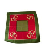 Gucci Khaki Green & Red Silk Square Scarf Foulard Wrap - $113.85