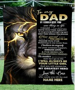 To My Dad Fleece Sherpa Lion Blanket Father's Day Gift Birthday Gift For... - $52.62+