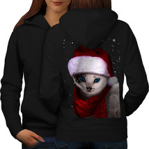 Christmas Cat Sweatshirt Hoody Hat Women Hoodie Back - $21.99+