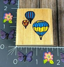 Comotion Three Hot Air Balloons 1985 Rubber Stamp Wood #M126   - $6.92