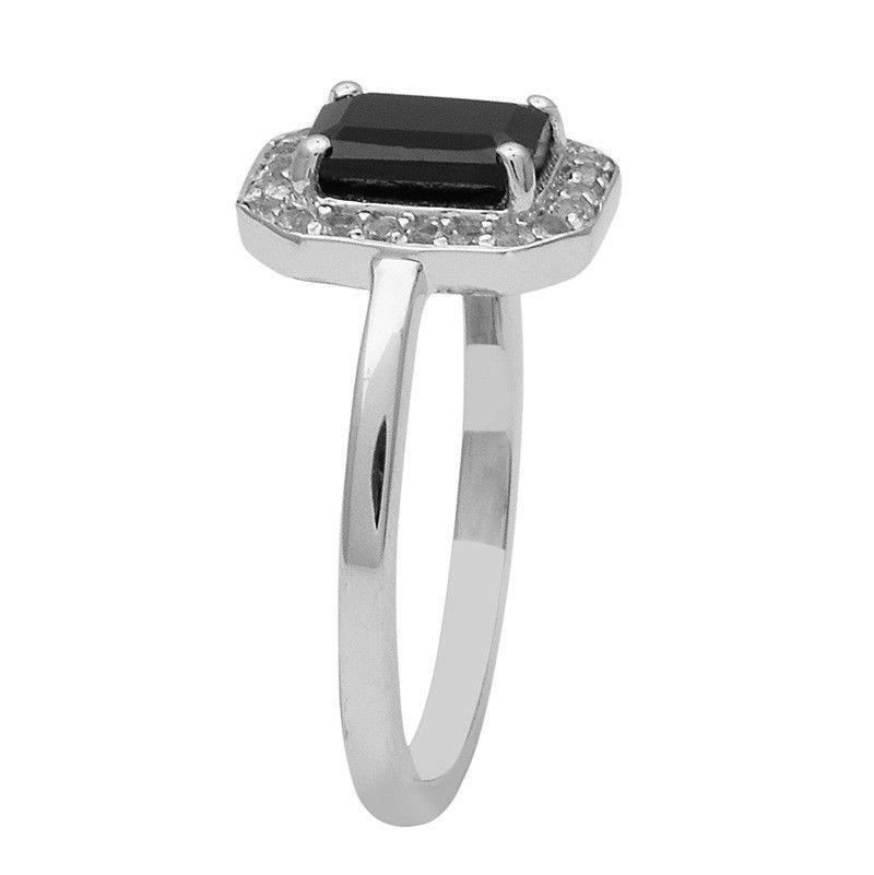 Black Spinel,White Topaz 925 Sterling Silver Ring Shine Jewelry Size-8 SHRI1450