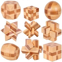 9 Pcs Burr Puzzles 3d Brain Teaser Logic Wooden Interlocking Toy Kids Ga... - $33.64