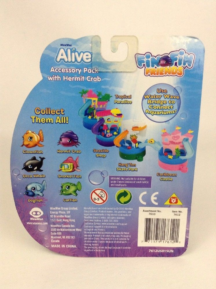 WowWee Alive Fin Fin Friends Accessory Pack with Hermit Crab New 2010 Sealed