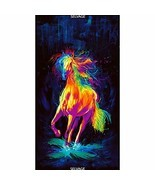 Timeless Treasures Digital Painted Horse 24'' Panel Black Fabric - $24.75 CAD