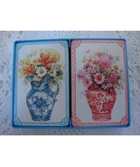 Vintage Hallmark Playing Cards Double Deck Bridge Floral Delft Vases Coated - $14.99
