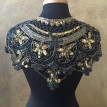 Sequin Beaded Lace Hip Wrap Collar Shoulder Shrug Shawl Appliqué AB Blac... - $39.99