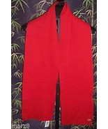 NWT Lacoste Small Croc Alligator Red 100% Wool Scarf with fringe - $47.52