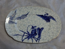 Antique 1880's Royal Worcester Blue Crane Large 19 x 15 Tray - $99.00