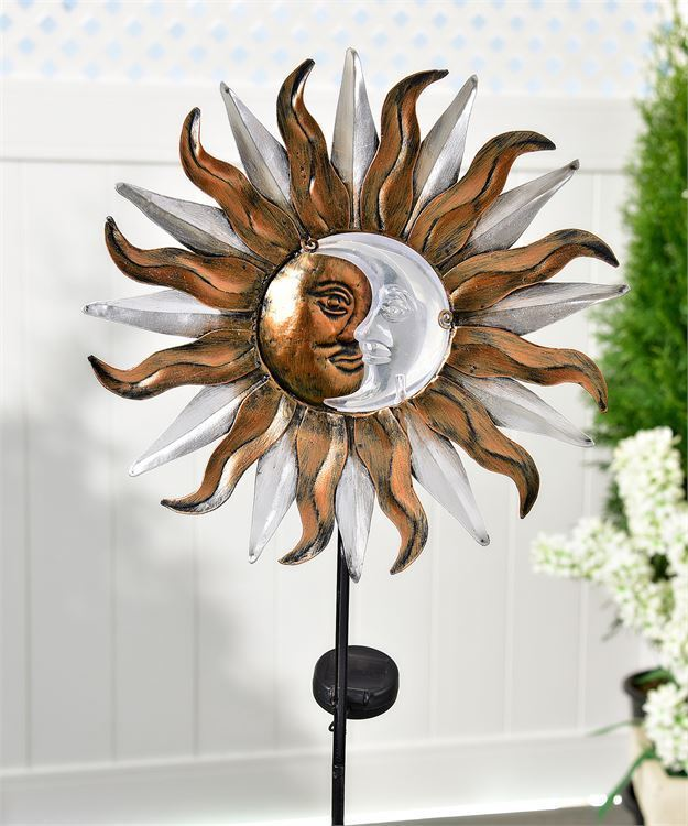 "35"" Celestial Design Solar Lighted Garden Stake Astrology Sun Moon Antique Brown"