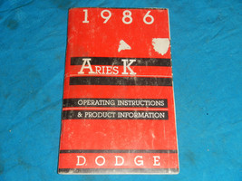 1986 86 Dodge Aries K Operating Service Manual - $9.36