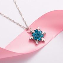 TOMTOSH 2016 Charm Vintage lady Blue Crystal Snowflake Zircon Flower Sil... - $5.29
