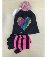 CAPELLI OF NEW YORK INC girls KNIT 2 piece SET Hat gloves Heart  BLACK, S/M - $2.50