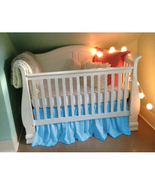 Blue Cotton Ruffled Crib Skirt / Mini Crib Skirt - $25.99+