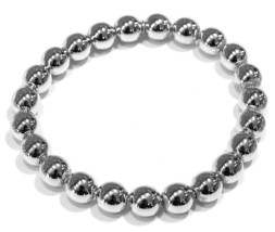 18K WHITE GOLD BRACELET, SEMIRIGID, ELASTIC, BIG 8 MM SMOOTH BALLS SPHERES - $1,780.00