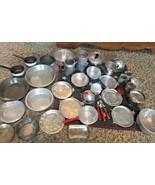 Vtg Metal Lot/36 Children's Toy Kitchen Baking Pie Pans Pots Measuring C... - $28.70