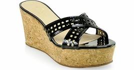 Kate Spade Sz 8 Tawny Black Patent Leather Wedges Natural Cork Shoes Sandals EUC - $49.49
