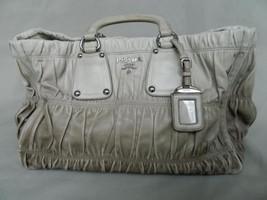 Prada Bag Gaufre Nappa Gray Leather Luggage Tag Shoulder Strap Handbag mint - $1,435.50