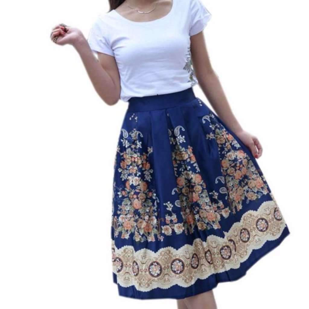 Daisy dress for less midi skirt retro pleated floral print women midi skirts 1407403720735