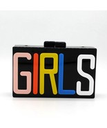 Letter GIRLS Design Women Evening Bag Black Color Metal Day Clutches Pur... - $42.79