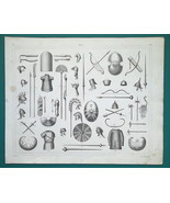 ARMOR Arms of Egyptians Persans & Medes Shields Bows Helmets - 1844 Supe... - $9.00