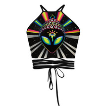 Women Alien Emoji Summer Yoga Sexy Tank Crop Tops Sports Dance Bodycon P... - $17.49