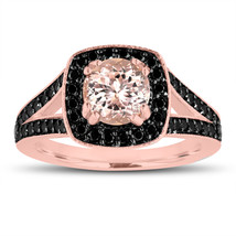Pink Peach Morganite Engagement Ring 14K Rose Gold 1.46ct Halo Pave Hand... - $1,232.50