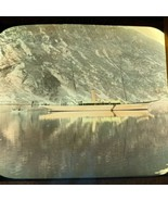 Vtg Magic Lantern Glass Slide Photo Color Scandinavian Fiord Boat - $14.20