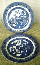 "Vintage Set of 2~ CHURCHILL England ~BlLUE WILLOW ~ 10"" Dinner Plates Re... - $29.69"