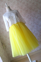 Yellow Puffy Midi Tulle Skirt Plus Size Tulle Tutu Skirt 6-layered Yellow Skirt  image 9