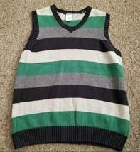 GYMBOREE Gray Green Striped Sweater Vest Boys L Size 10-12 - $3.88
