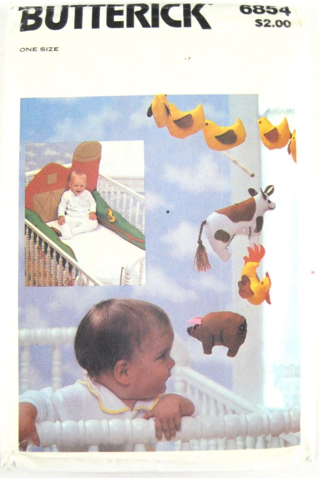 Vtg Butterick 6854 Baby Crib Bumper Mobile Wall Hanging Farm Cow Chicken Duck FF image 2