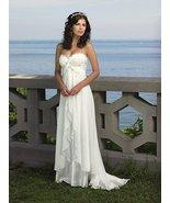 White Chiffon Long Wedding Dress, Beach Wedding Gowns , Bridal Gowns Women  - $128.00
