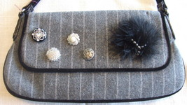 Small Gray Wool Blend Purse with Button, bead and Feather Embellishments image 2