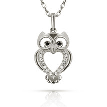 14k White Gold OWL Pendant Created Black & White Diamond Jewelry Necklace Chain - $128.68+
