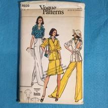 Vogue Patterns 8939 70s Safari Jacket Blouse Pants Skirt Belt Size 14 VTG Uncut - $12.38